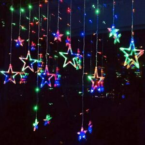 138 LED Curtain Fairy Lights String Hanging Window Wall Lights Party Xmas Decor