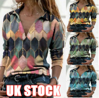 UK Women V-Neck Loose Shirt Tops Long Sleeve Print Jumper Pullover Blouse Casual
