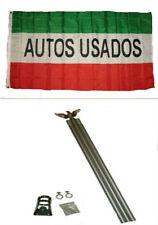 3x5 Advertising Autos Usados Red White Green Flag Aluminum Pole Kit Set 3'x5'