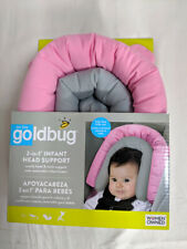 Pink/Grey On the Goldbug 2-in-1 Infant Head Support for Baby Car Seat/Stoller