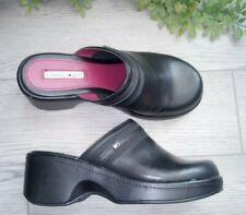 Vintage 90s y2k Tommy Hilfiger Chunky Platform Clogs Mules Shoes Black 7