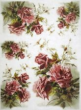 Rice Paper for Decoupage Scrapbook Craft Sheet Claret Roses Bouquets