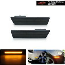 For 08-14 Dodge Challenger LED Smoked Lens Amber Front Fender Side Marker Lights