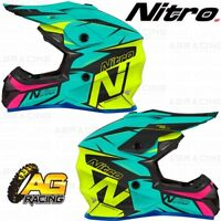 Nitro 2019 Adult Helmet MX 620 Podium Teal Yellow Pink Satin Motocross Enduro
