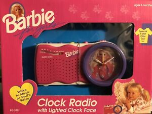 *RARE* Barbie For Girls Clock Radio with Lighted Clock Face FM  Toys 1995