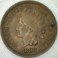 1880 Indian Head Penny One Cent US Coin Wreath Shield XF Extra Fine K12