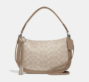 COACH 52577 Sutton Crossbody in Signature Canvas Bag ~ Sand Taupe
