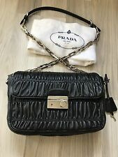 Auth Prada Black Nappa Gaufre Leather Bag Retails $2000 - Excellent Condition