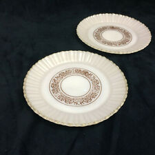 "Milk Glass Set of 2 9"" Plates with Brown Vines Leaves Pattern Made in Mexico"
