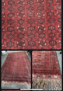 Vintage AFGHAN TURKOMAN TRIBAL HAND KNOTTED WOOL RED ORIENTAL RUG 9x12 Feet