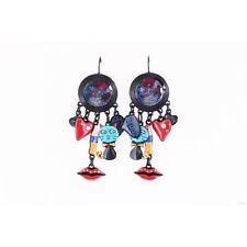 Boucles d'oreilles pop art,chat,bulle BD hello,coeur,bouche,lol bijoux,bleu