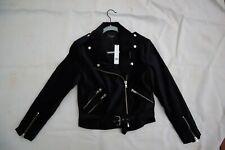 NWT Black Velveteen WALTER BAKER New York Travis Motorcycle Style Jacket Small