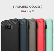 Shockproof Carbon Fiber Brushed TPU Case Cover Skin Protector For Samsung Galaxy