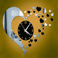 DIY 3D Home Living Room Bedroom Decor Heart Clock Mirror Art Mural Wall Stickers