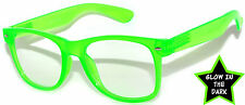 GLOW IN THE DARK VINTAGE RETRO OWL CLEAR LENS SUNGLASSES PARTY GREEN