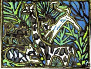 """JUNGLE DANCE"" by  RUTH FREEMAN MIXED MEDIA 71/4""X 91/2"