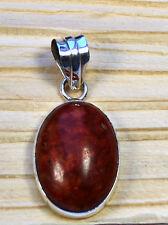 Coral Colgante de Piedra Preciosa Plata 925 ( Ovalo , Joya, Color Rojo, 41mm)