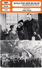 FICHE CINEMA : QU'ELLE ETAIT VERTE MA VALLEE - Pidgeon,O'Hara,Lee,Ford 1941