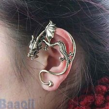 2# Punk Gothic Fly Dragon Bronze Silver Left Ear Cuff Stud Clip Earrings JW31 YG