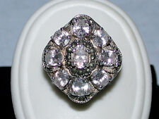 Vintage 4.5 CTW 9 Oval White Saphires & Marcasite Cluster Set in Sterling Silver