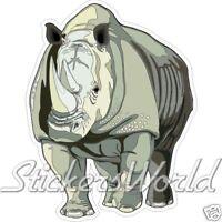 "SAUVAGE RHINO Rhinocéros FAUNE 4,3"" (110mm) Vinyle Sticker Autocollant"
