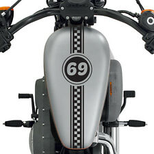 "(2x) 24"" Custom Made Motorcycle Checkered Number Racing Stripe Cafe Racer Decals"
