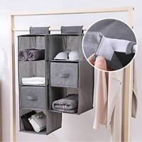 3-5 Section Shelves Tidy Hanging Wardrobe Shoe Garment Organiser Storage Clothes