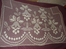 #289 Beautiful Vintage Handmade  Filet Doily  59''/39''(150cm/100cm)