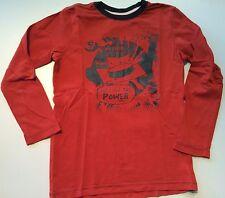 ESPRIT leichtes Longsleeve LA-Shirt rost rot mit Print grau Gr. 116/122 TOP