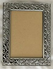 """Silvertone Metal Rhinestones 7 X 9 Picture Frame Holds 5X7"""" Photo"""