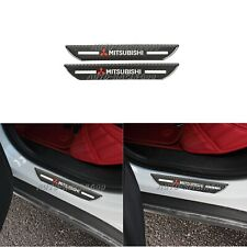 2x Mitsubishi Carbon Fiber Car Rear Door Welcome Plate Sill Scuff Cover Sticker