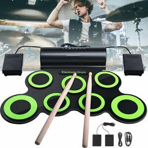 Roll Drum Pad E-Drum Pad Percussion Pad Silikon Schlagzeug Drum Kit Sticks Pedal
