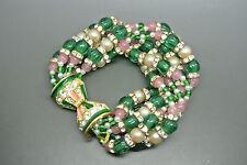 VINTAGE RARE 70s KJL Kenneth Jay Lane Moghul Verde Bracciale con perline rosa
