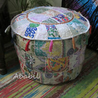 """18"""" Indian Handmade Vintage Patchwork Pouf Round Ottoman Cover Ethnic Foot Stool"""