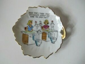 Vintage 1960s Bone China Novelty Dish - This Time I Think That Efficiency Expert