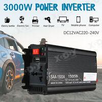 1500W CAR POWER INVERTER DC 12V TO AC 220V MODIFID SINE WAVE CONVERTER BLACK