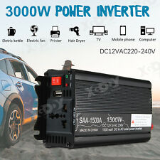 1500W CAR POWER INVERTER DC 12V TO AC 220V MODIFID SINE WAVE CONVERTER BLACK