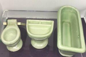 Vintage Dollhouse Porcelain 3 Piece Bathroom Set GREEN made in JAPAN