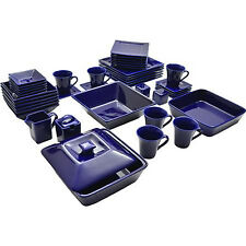 Blue Dinnerware Set Square 45 Piece Dinner Plates Cups Dishes Kitchen Banquet