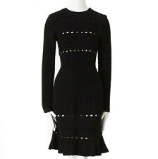 ALAIA black textured chenille cutout fluted hem bodycon dress US8 UK12 IT44 FR40