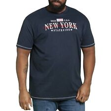 Duke D555 Mens Big Tall King Size New York Short Sleeve Crew Neck T-shirt Navy