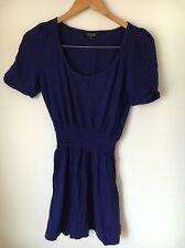 Topshop Size 10 Cotton Short Sleeve Purple Short Dress <T5745