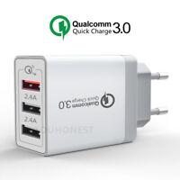 Qualcomm QC 3.0 30W Fast Quick Charge 3 Port USB Wall charger adapter US EU Plug