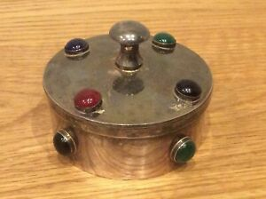 Parks London Silver Plated LIDDED POT with Cabochons Available Worldwide