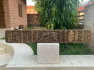 Antique Rare Wooden Hand Carved Flower Elephant Figure Home Door Old Wall Panel