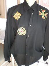VINTAGE  WOOL Shirt SIZE M Italian BLACK & GOLD BAROQUE APPLIQUE MILITARY TOP