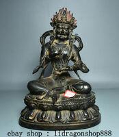 """11,2"""" Tibet  Bouddhisme Temple Bronze Mahakala Wrathful Déité Bouddha Statue"""