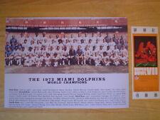Miami  Dolphins 1972  Super Champs Photo & Replicia Ticket