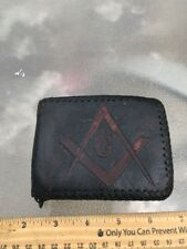 Antique Handmade Masonic leather men's wallet. Monogrammed must see