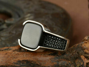 Matte Z Black Square and Round Onyx Men's Ring In 925 Sterling Silver Size 11